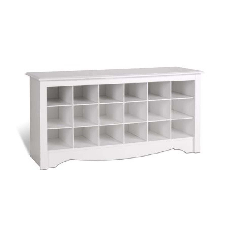 White Shoe Bench w/ Cubbie Storage