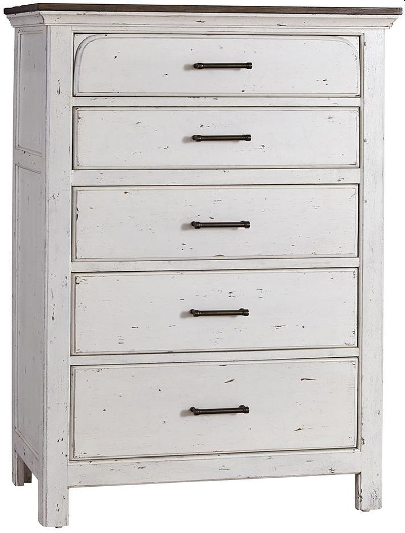 Cottage Style Rustic Chest in Vintage White w/ Latte Top