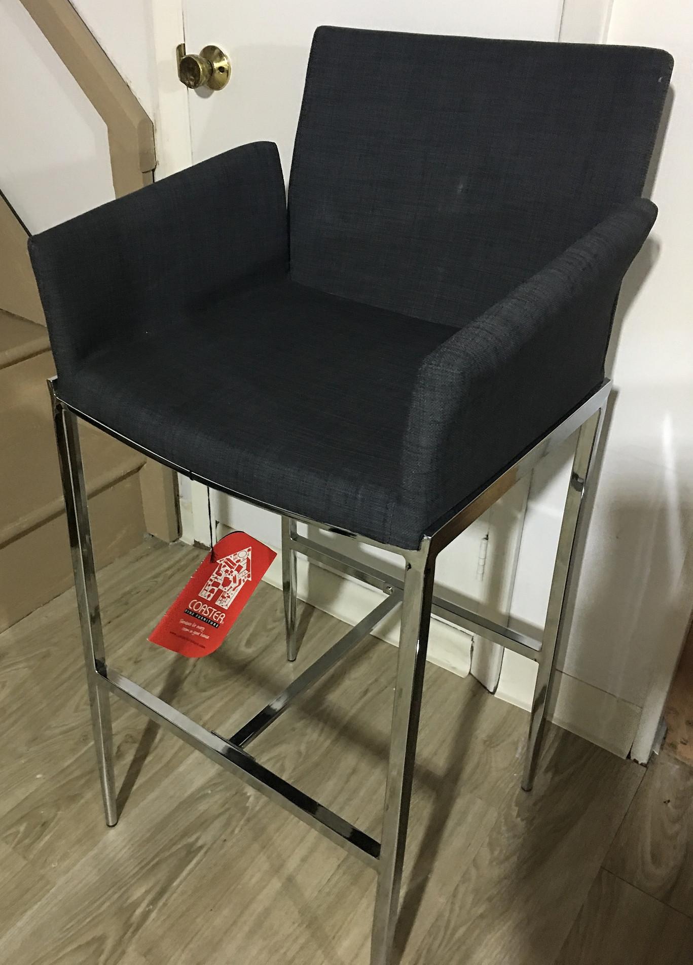 Modern Bar Chair in Grey Fabric w/ Chrome Base