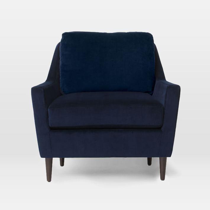 West Elm Everett Chair in Luster Velvet Celestial Blue