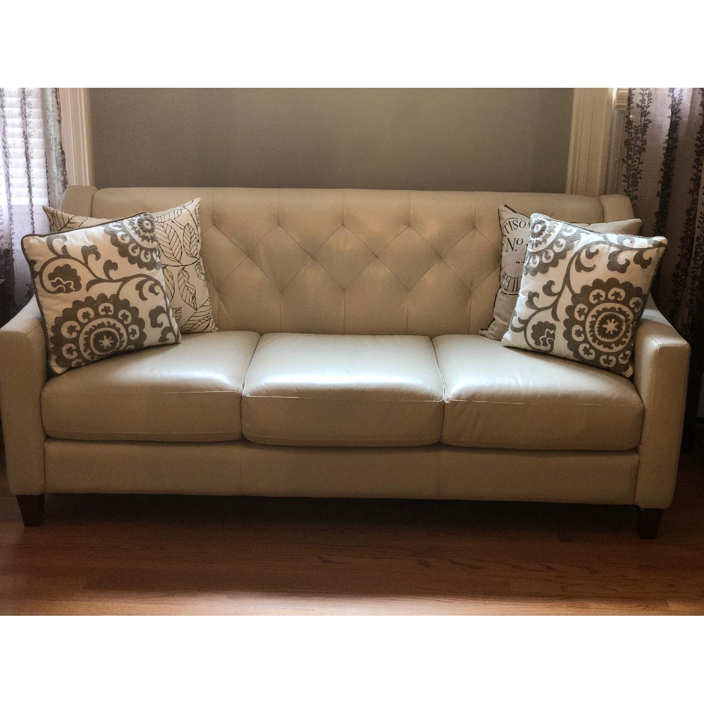 Macy S Tufted Ivory Leather Sofa Aptdeco