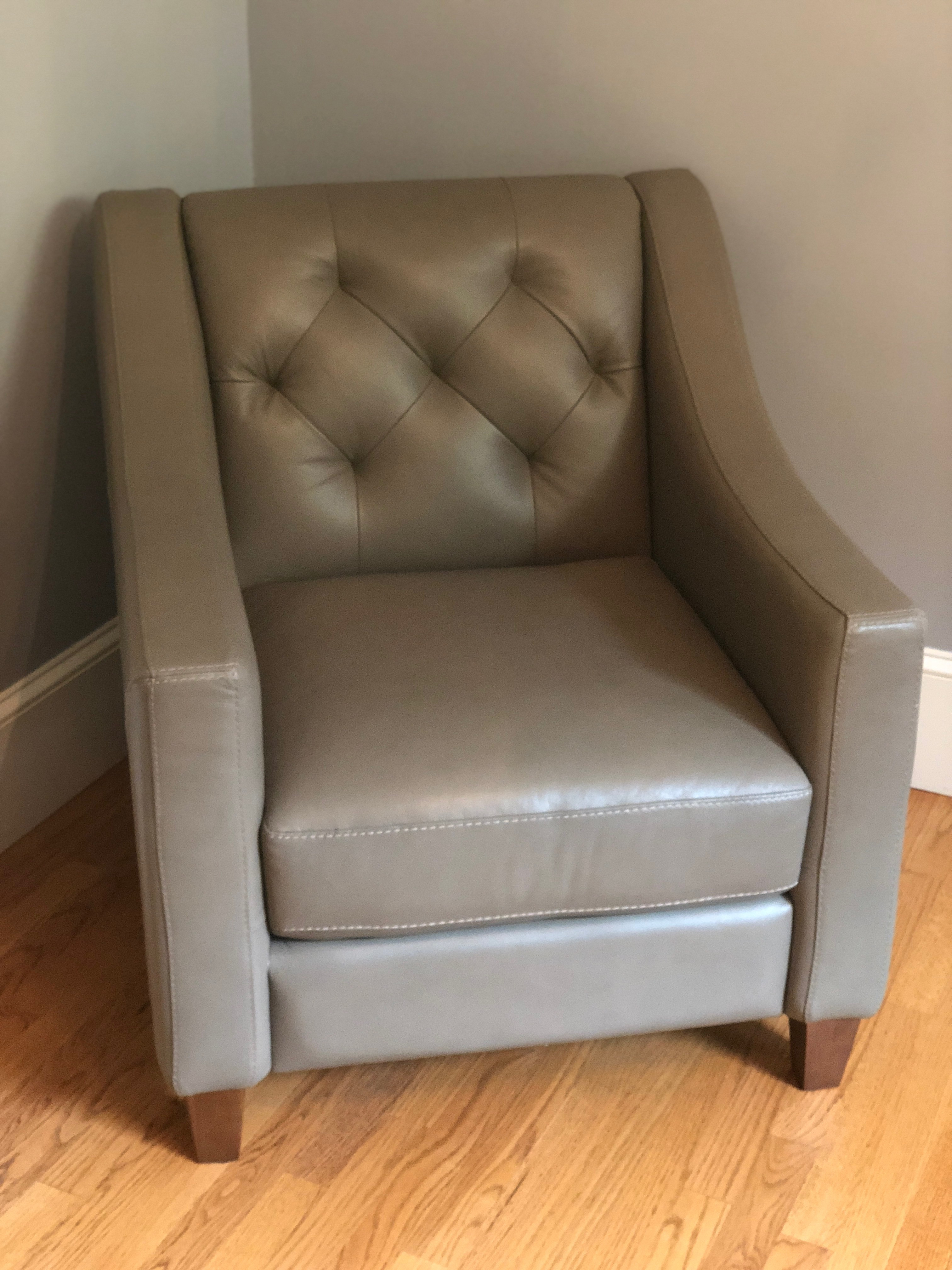 Macy's Taupe Tufted Leather Armchair