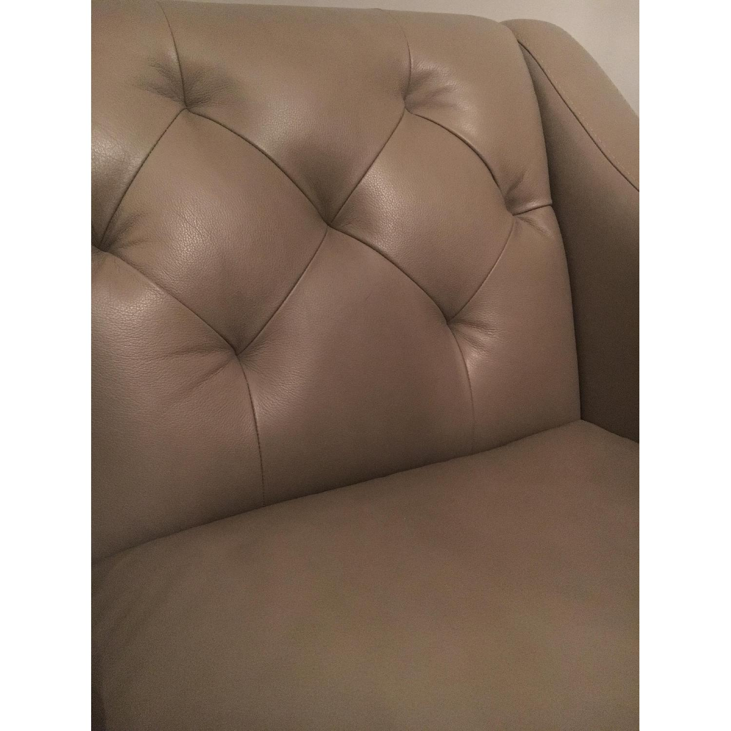 Macy's Taupe Tufted Leather Armchair - image-2