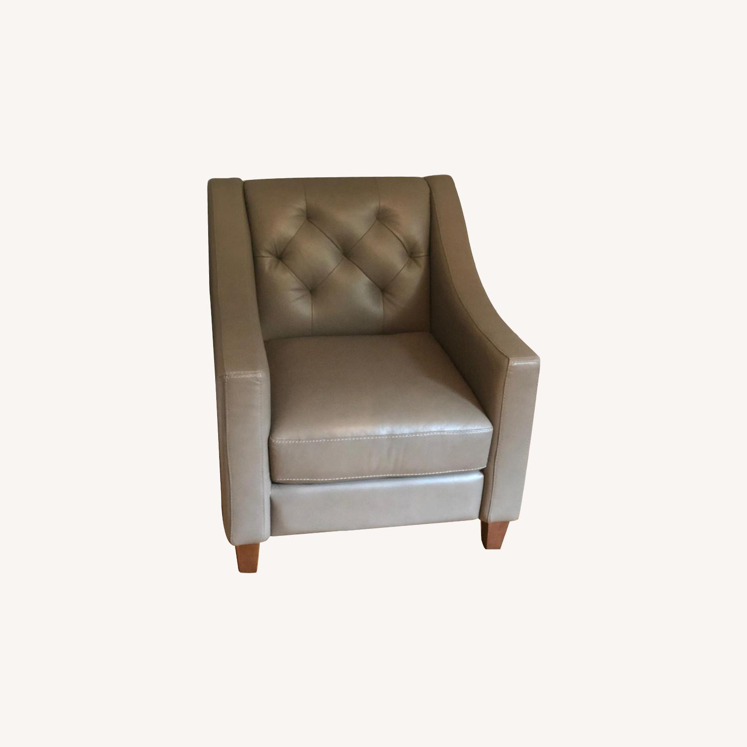Macy's Taupe Tufted Leather Armchair - image-0