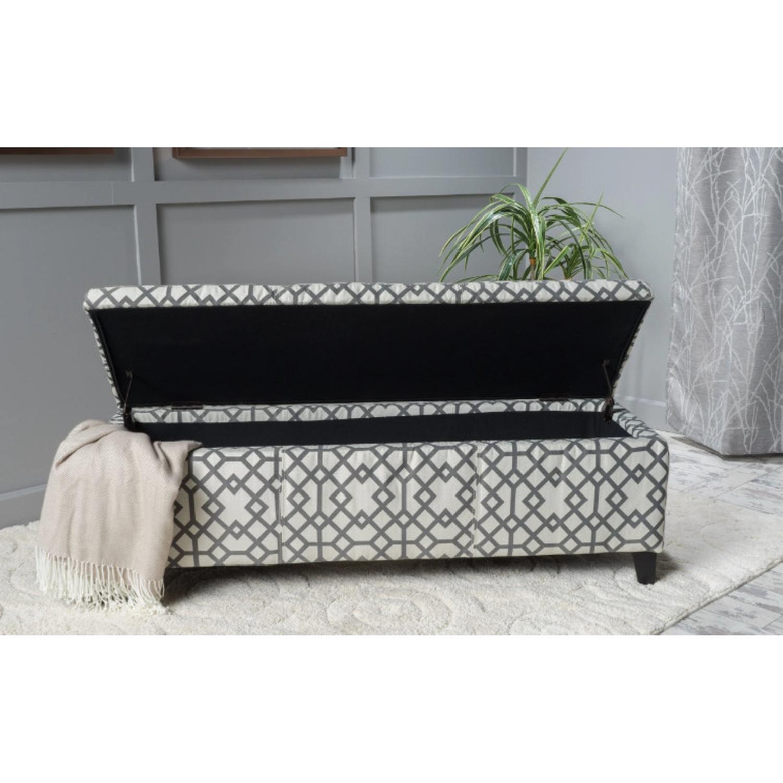 Christopher Knight Geometric Fabric Storage Ottoman Bench