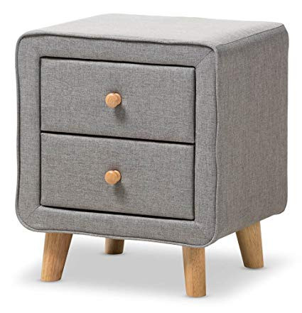 Mid Century Gray Fabric 2-Drawer Nightstands