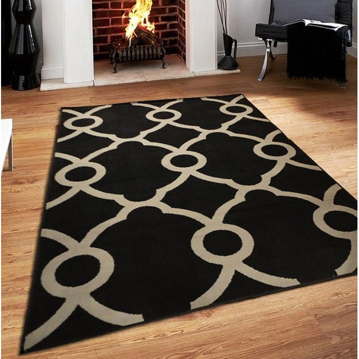Ebern Designs Riemann Black Indoor/Outdoor Area Rug
