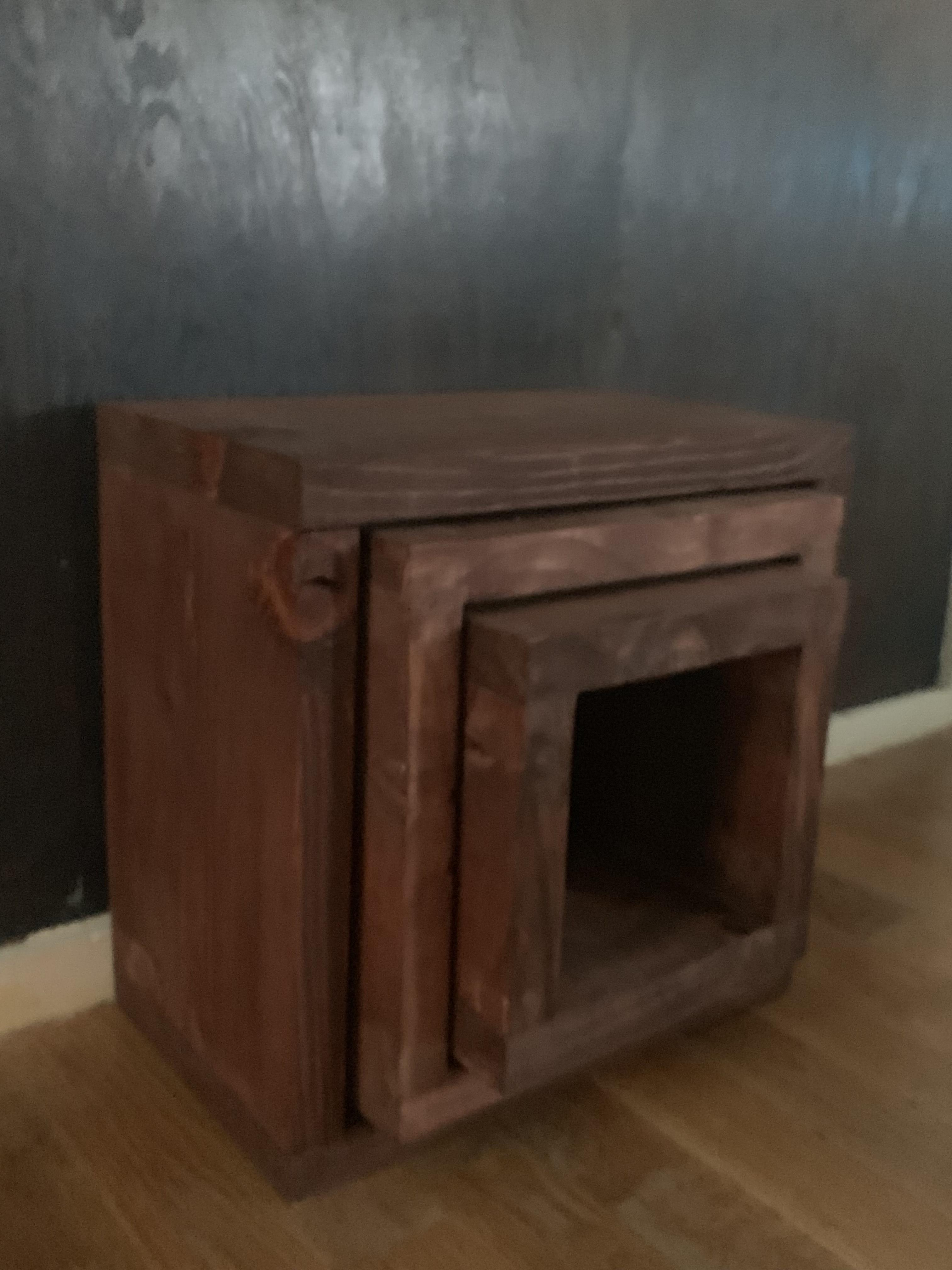 Handmade Contemporary Rustic Cube End Tables