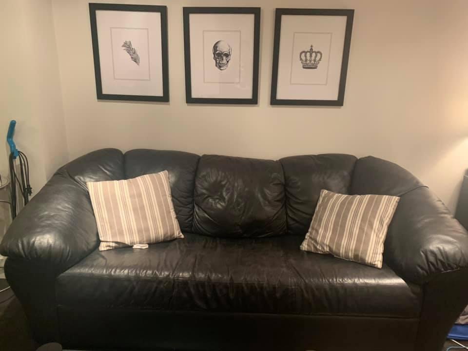 Black Leather Pull Out Sleeper Sofa - AptDeco
