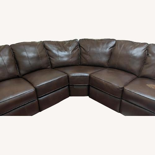 JCPenny Brown Leather Sectional Sofa w/ Reclining End Seats