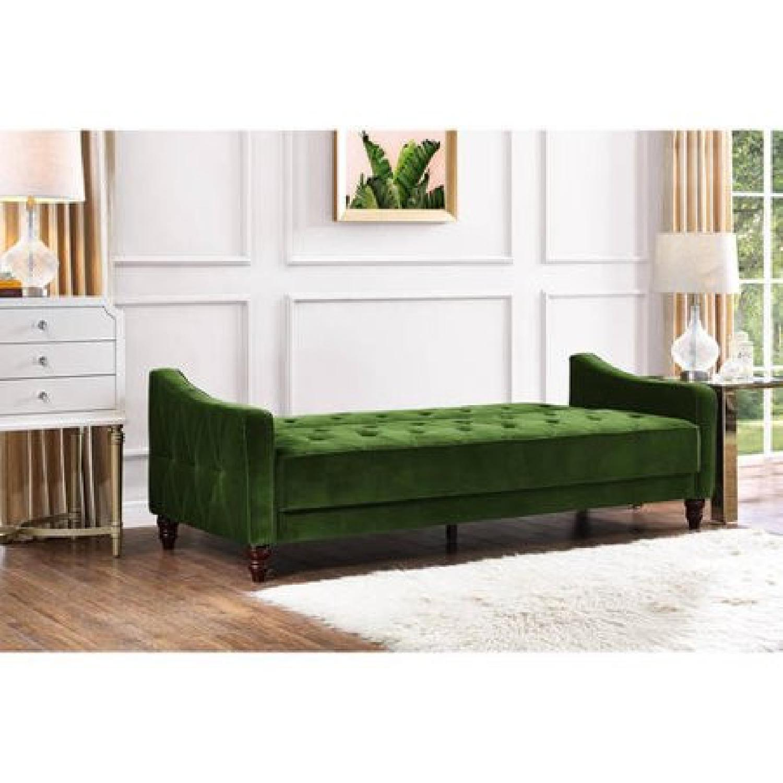 Pleasant Novogratz Vintage Green Sleeper Sofa Aptdeco Caraccident5 Cool Chair Designs And Ideas Caraccident5Info