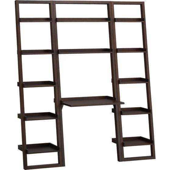 Crate & Barrel Sloane Leaning Desk & 2 Bookshelves