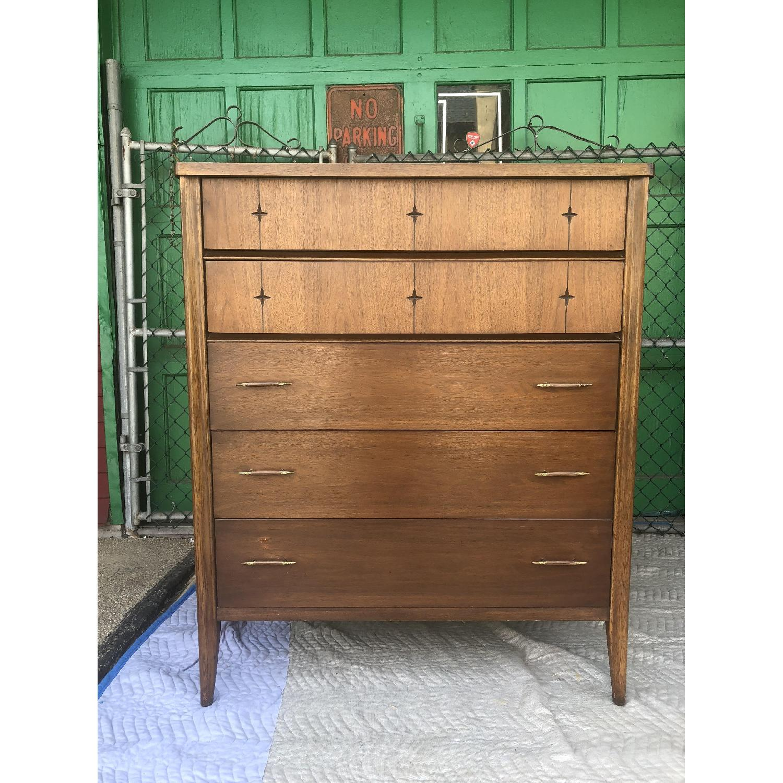 Broyhill Saga Mid Century Walnut Highboy Dresser - image-9