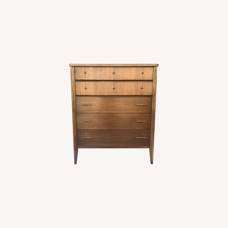 Broyhill Saga Mid Century Walnut Highboy Dresser - image-0