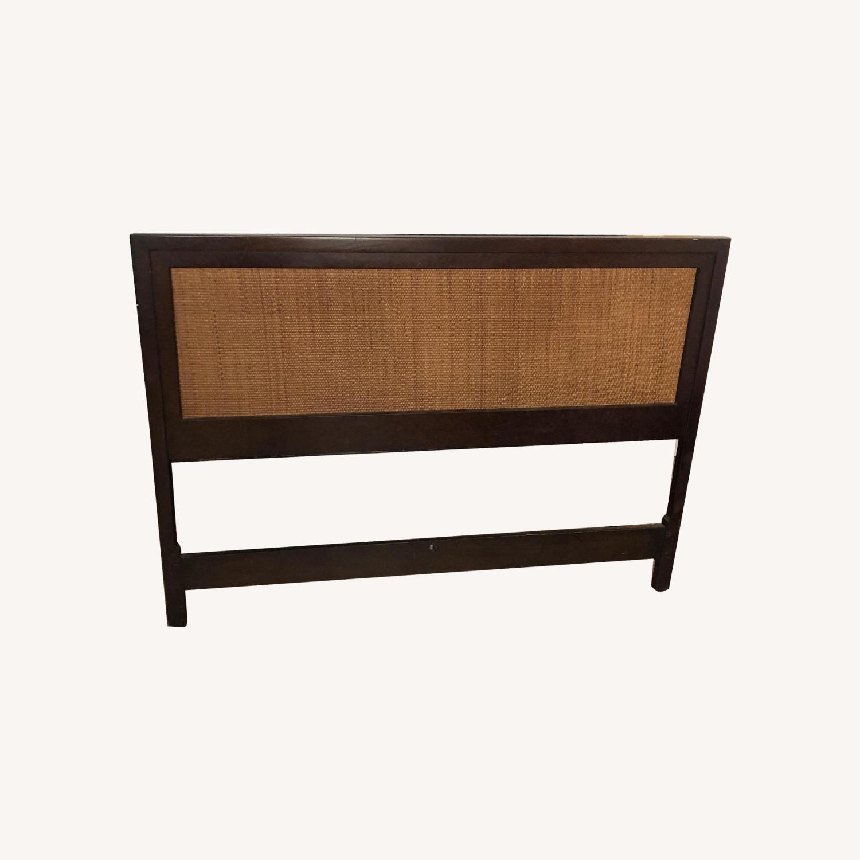John Stuart Furniture Modern Walnut & Cane Headboard