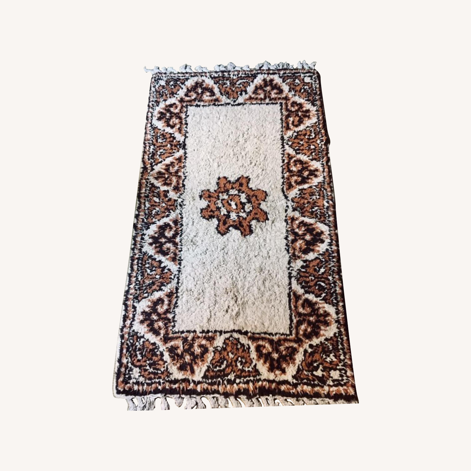 White and brown thick and comfy Moroccan rug