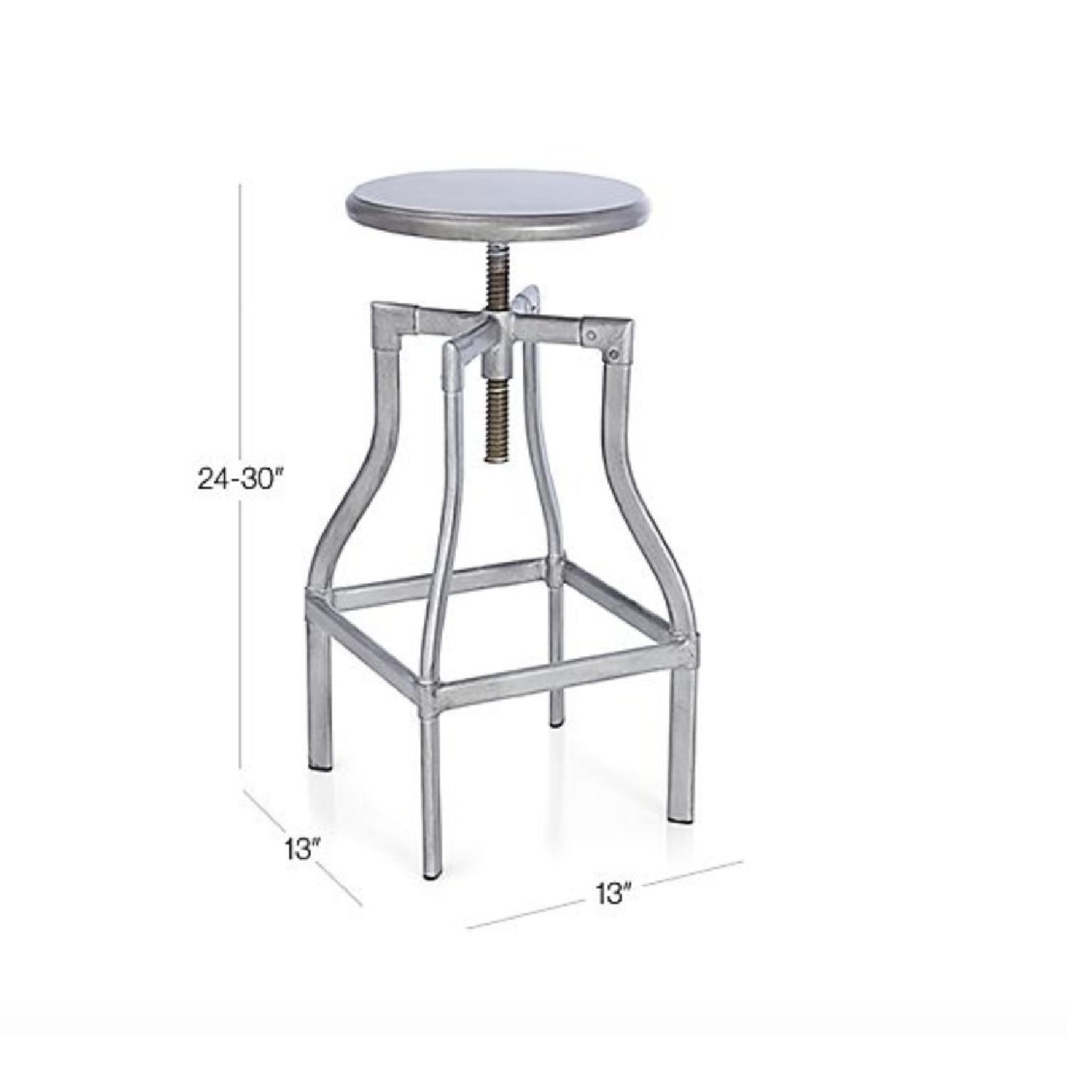 Crate & Barrel Turner Gunmetal Adjustable Backless Barstools