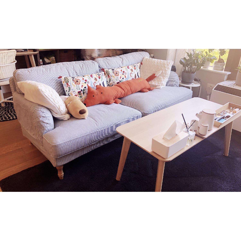 Enjoyable Ikea Stocksund White Blue Stripe Sofa Aptdeco Cjindustries Chair Design For Home Cjindustriesco