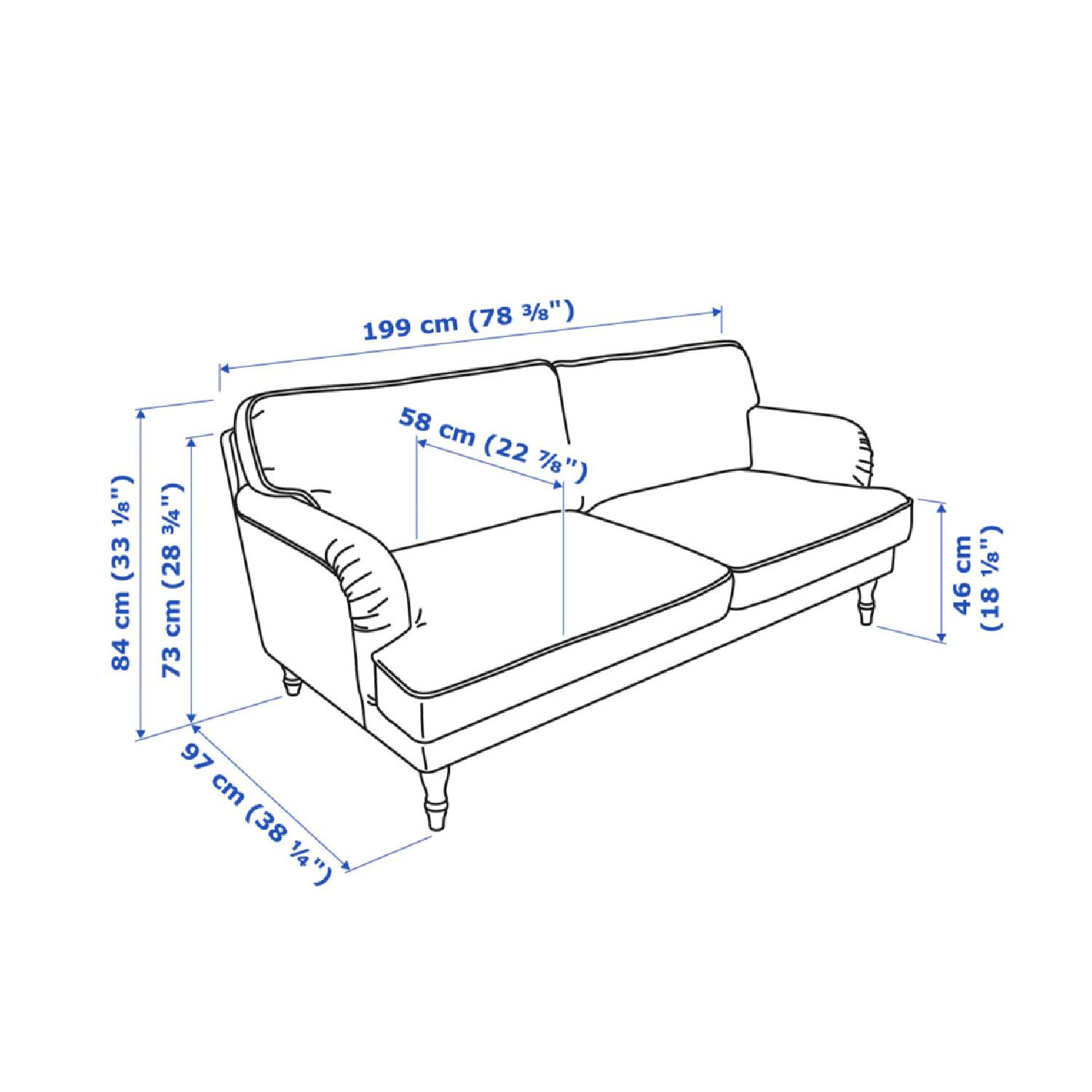 Outstanding Ikea Stocksund White Blue Stripe Sofa Aptdeco Creativecarmelina Interior Chair Design Creativecarmelinacom
