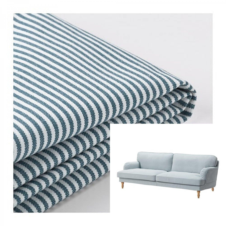 Stupendous Ikea Stocksund White Blue Stripe Sofa Aptdeco Cjindustries Chair Design For Home Cjindustriesco