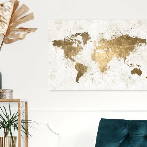 Used MAPAMUNDI WHITE GOLD World Map in Canvas for sale on AptDeco