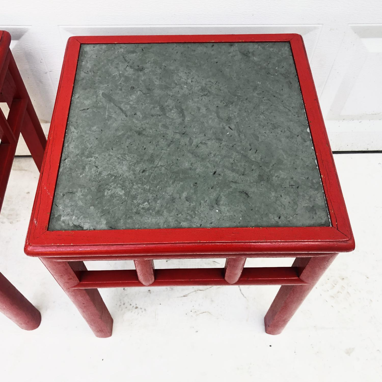 Pair Mid-Century Slate Top Side Tables