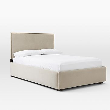 West Elm Pivot Storage Bed w/ Nailhead Headboard - AptDeco