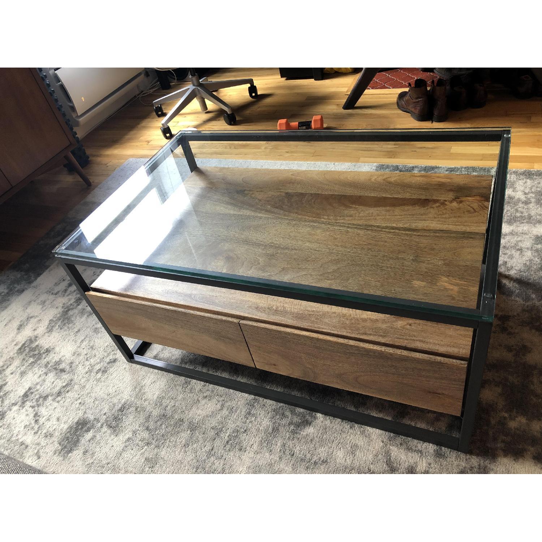 West Elm Box Frame Storage Coffee Table Aptdeco