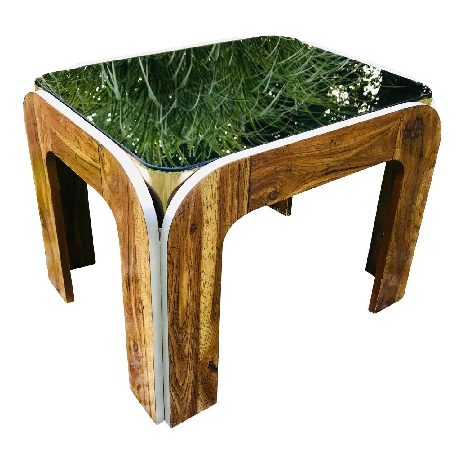 Vinitage Deco Style Coffee Table w/ Smoked Glass Top - image-0