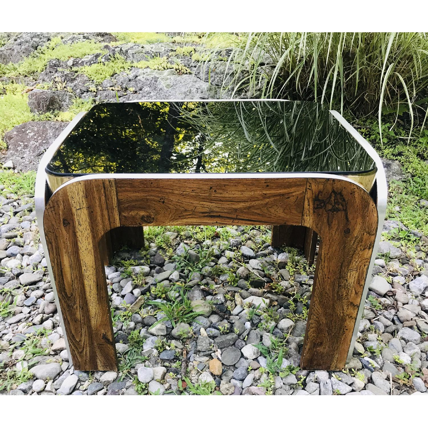 Vinitage Deco Style Coffee Table w/ Smoked Glass Top - image-1