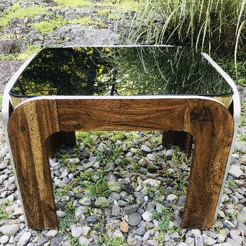 Used Vinitage Deco Style Coffee Table w/ Smoked Glass Top for sale on AptDeco