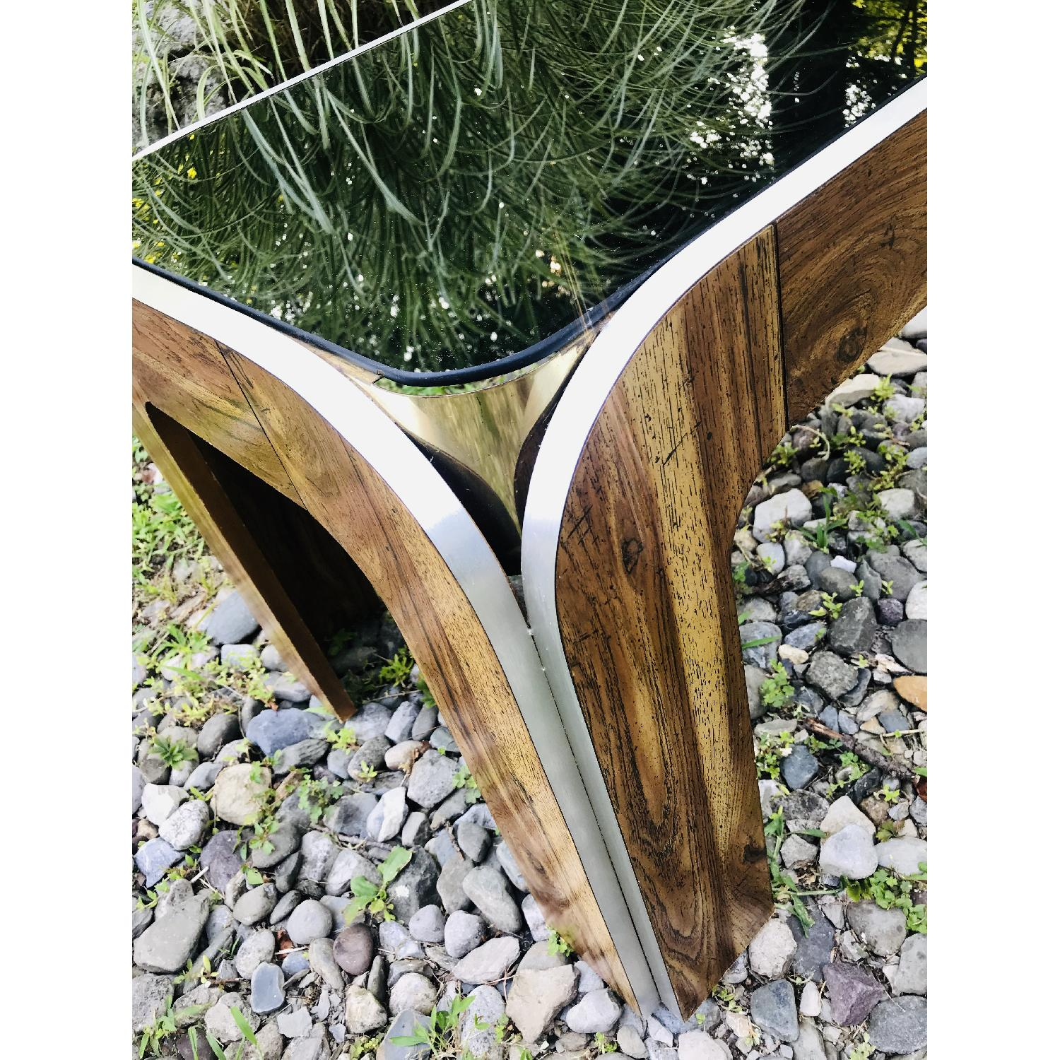 Vinitage Deco Style Coffee Table w/ Smoked Glass Top - image-2