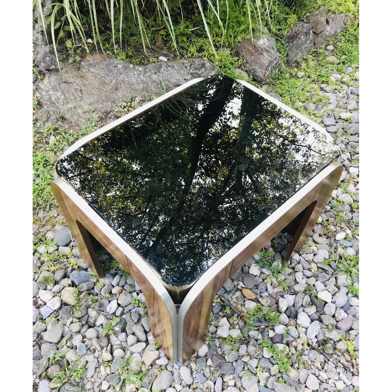 Vinitage Deco Style Coffee Table w/ Smoked Glass Top - image-3