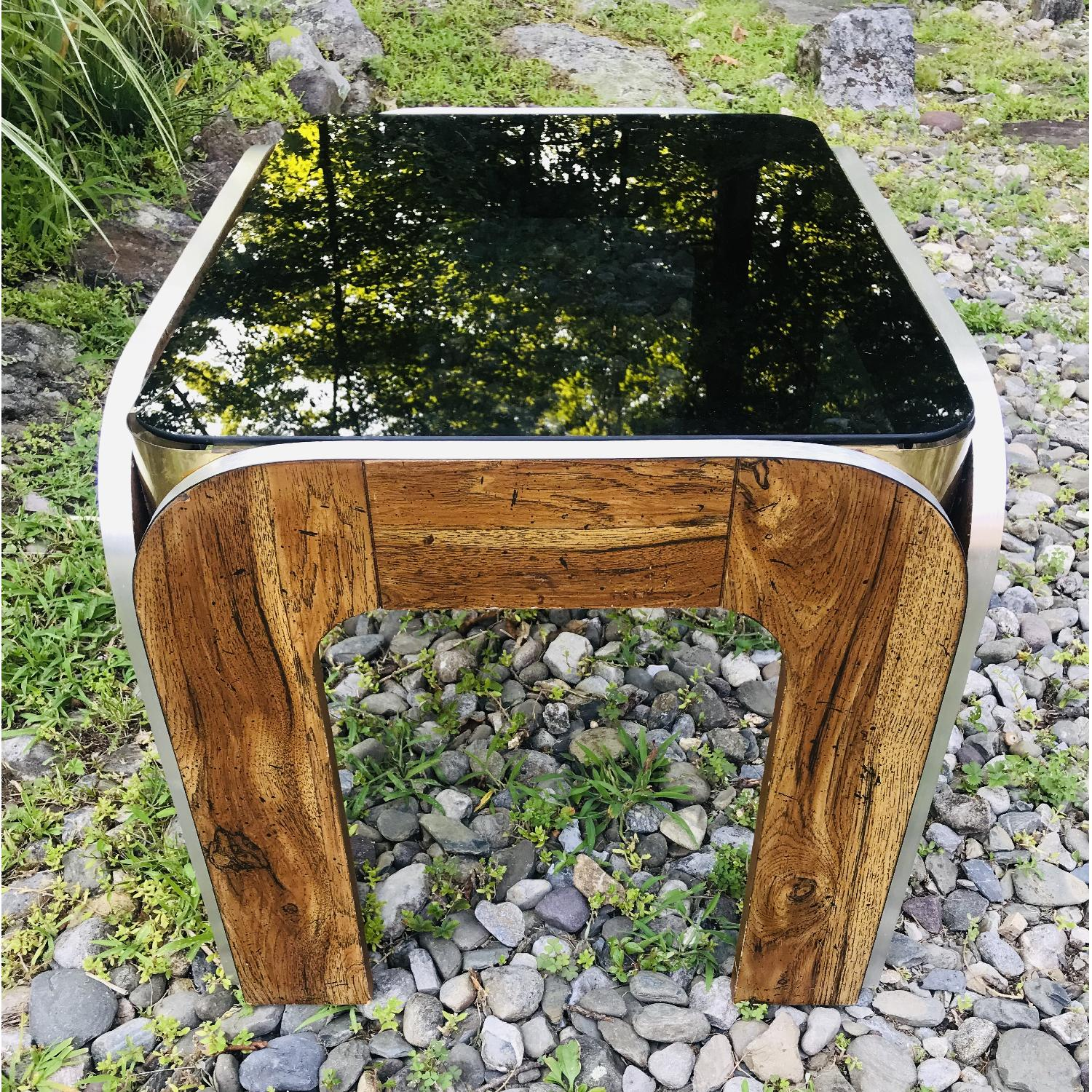 Vinitage Deco Style Coffee Table w/ Smoked Glass Top - image-5