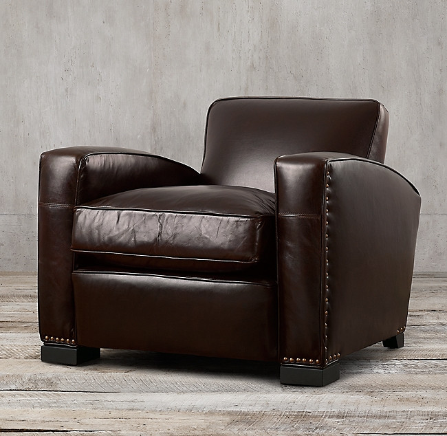Restoration Hardware Leather Lounge Chair
