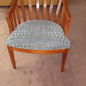 Wooden Armchairs w/ Aqua Upholstery & Honey Stain
