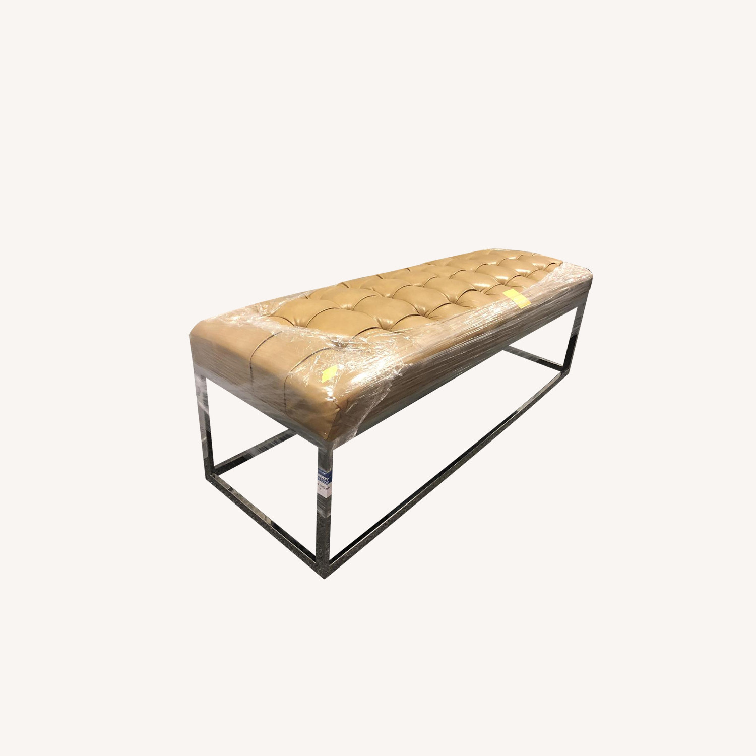 Tufted Faux Leather Bench