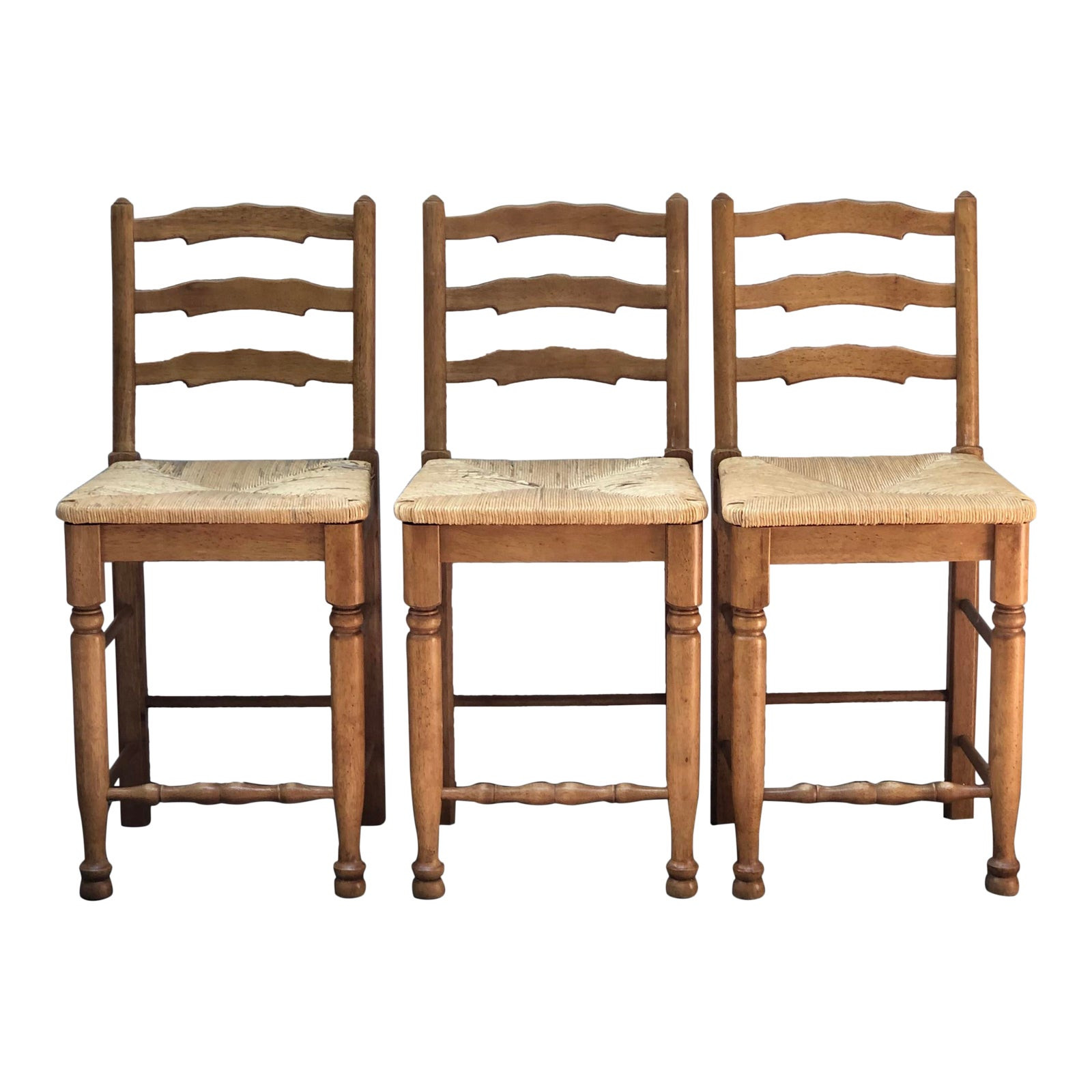 Late 20th Century Ladder Back Seat Counter Stools