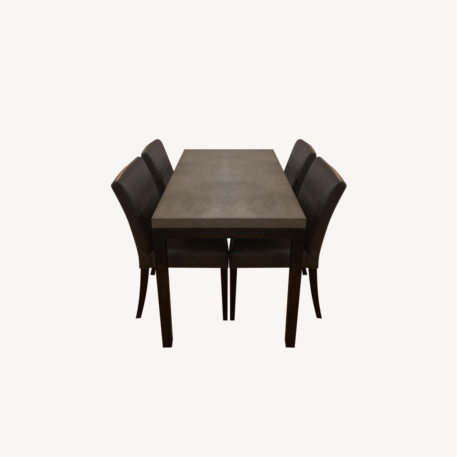 Crate & Barrel Dining Table w/ 4 Leather Chairs - AptDeco