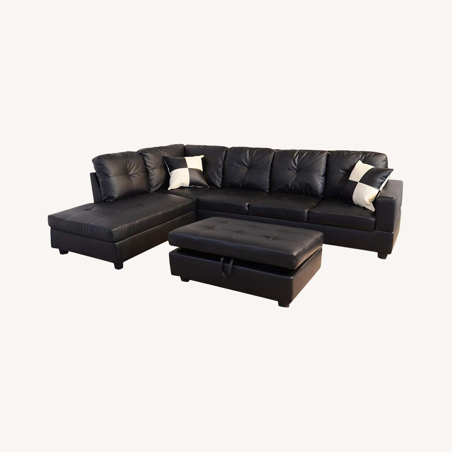 Lifestyle Black Leather 3 Piece Sectional Sofa & Ottoman
