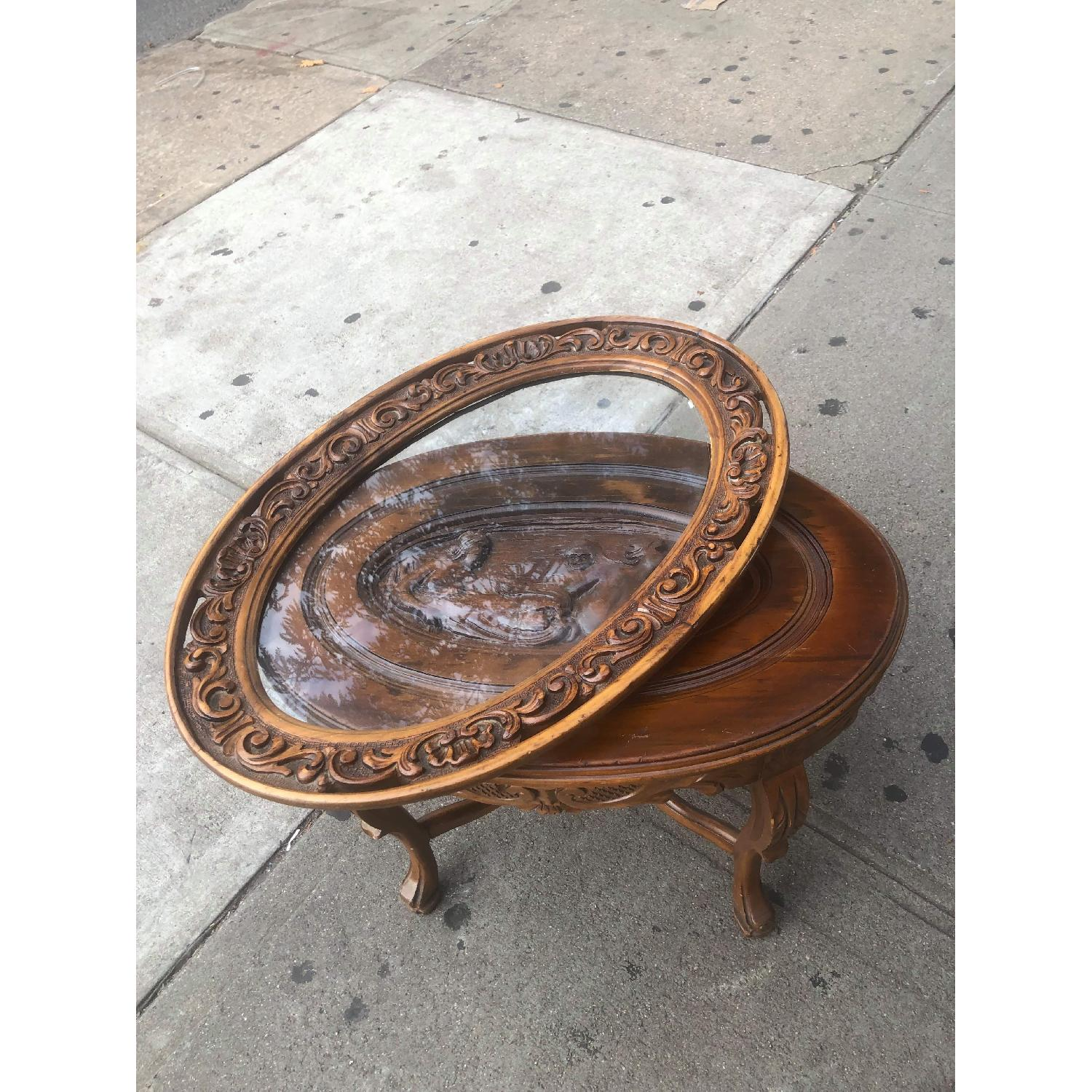 Vintage Hand Craved Wooden Coffee Table W Glass Tray Top Aptdeco