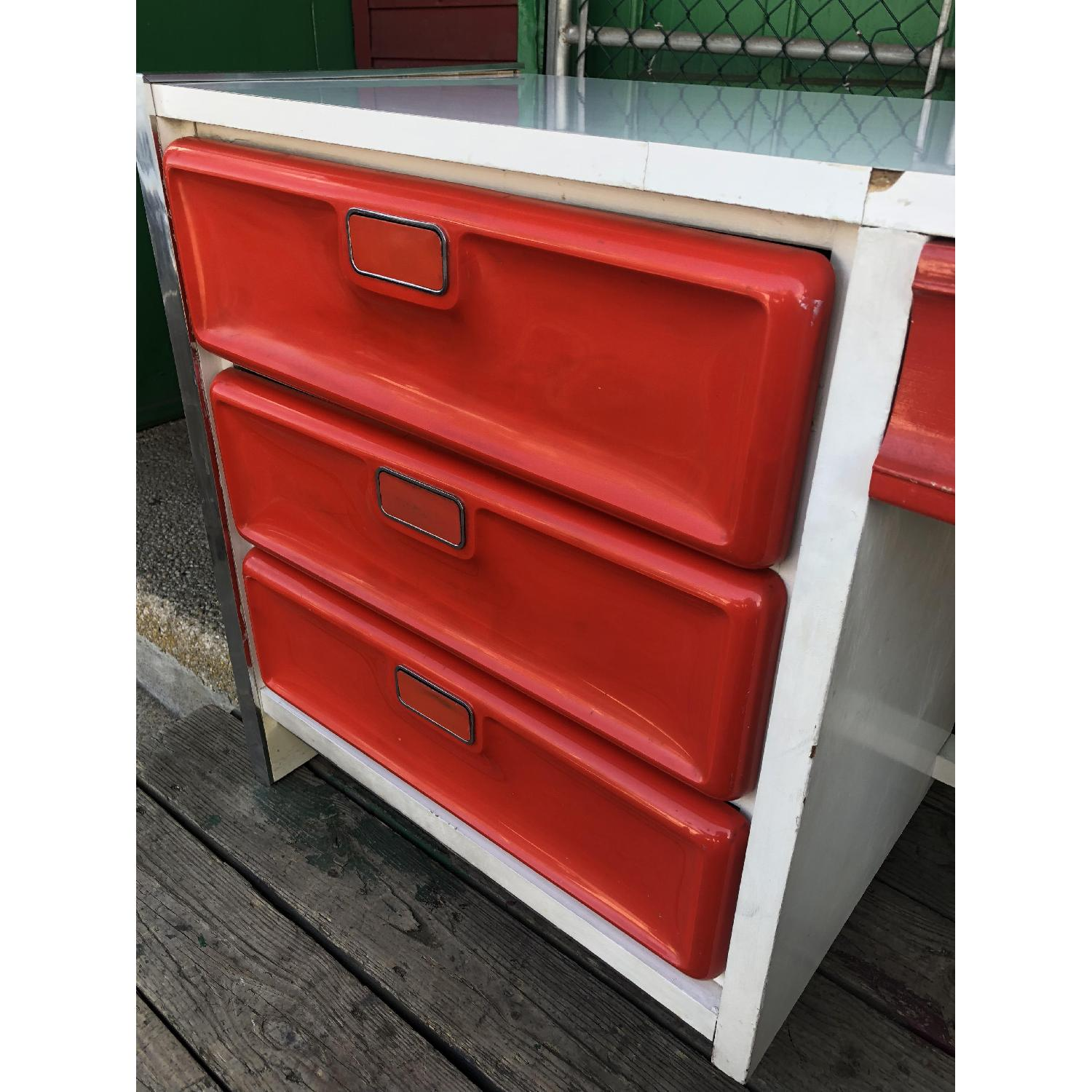 Mid Century Pop White Lacquer Desk w/ Molded Red Plastic