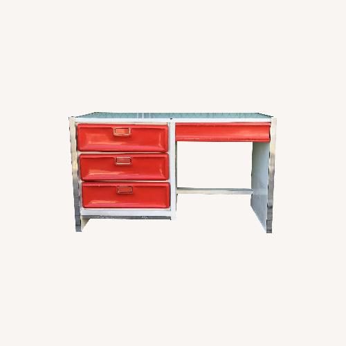 Used Mid Century Pop White Lacquer Desk w/ Molded Red Plastic for sale on AptDeco