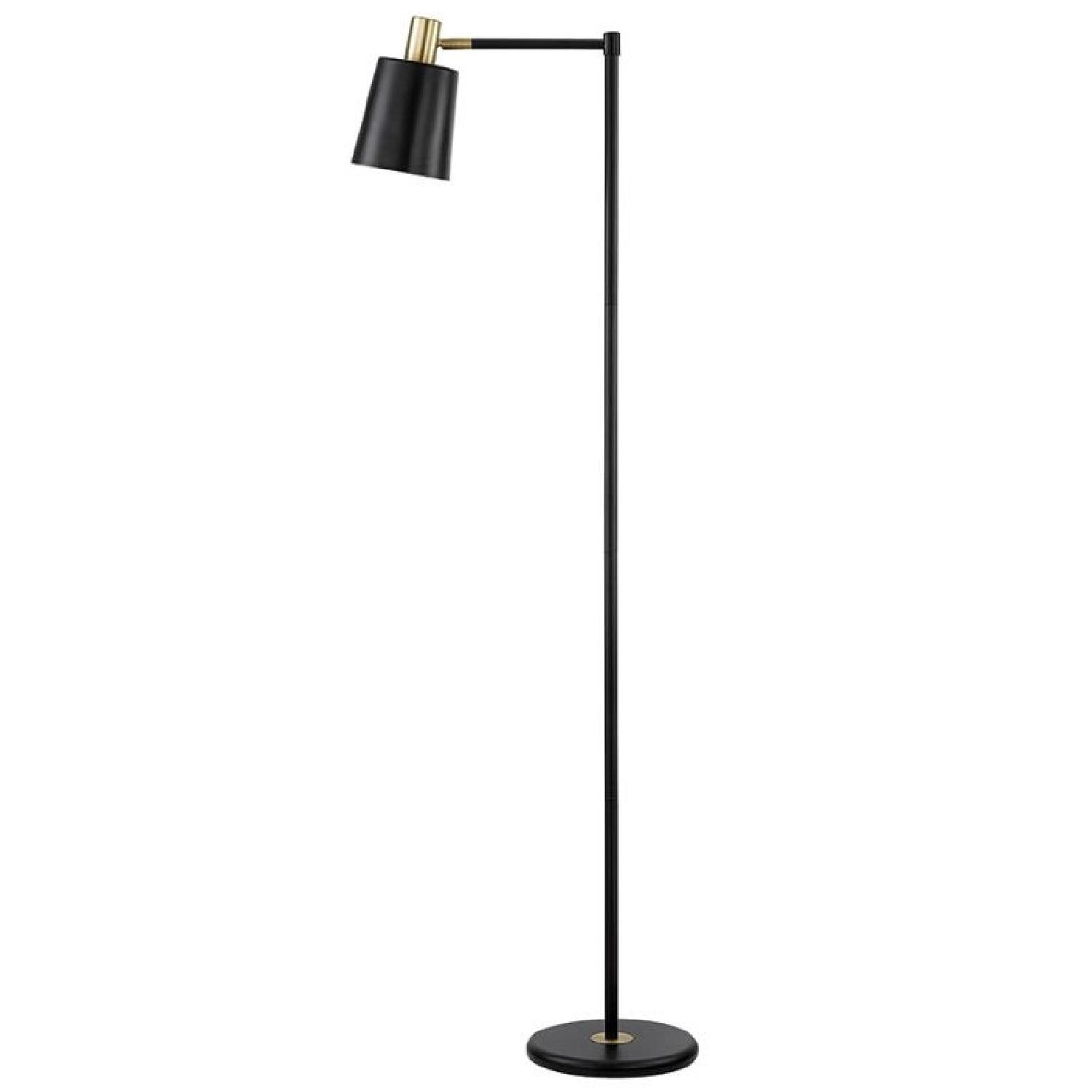 Retro Style Black & Gold Color Floor Lamp - image-0