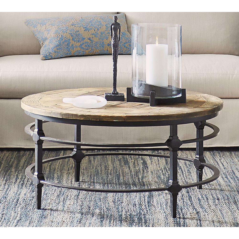 - Pottery Barn Parquet Reclaimed Wood Round Coffee Table - AptDeco