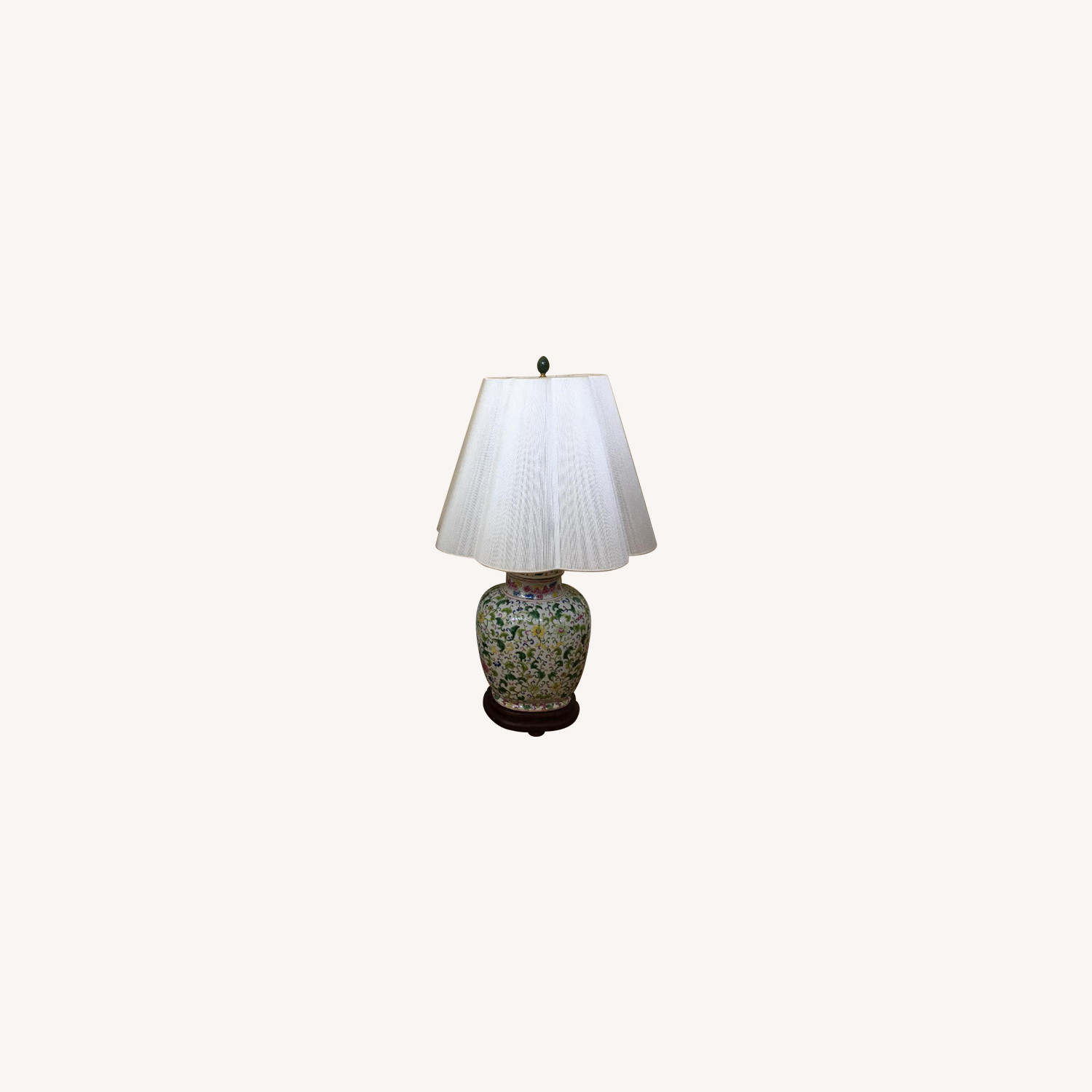 Green Floral Print Ceramic Lamps w/ Shades