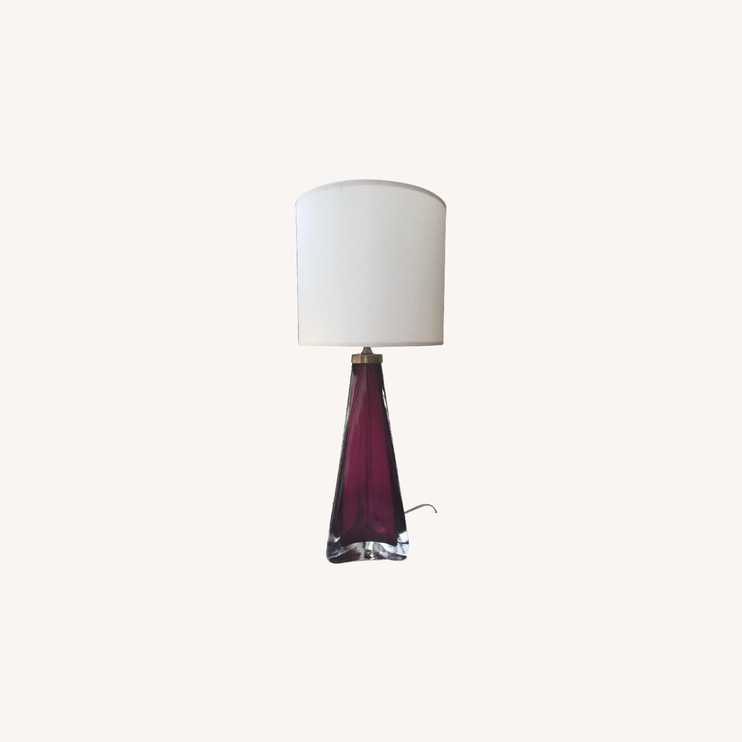 Orrefors 1960 Red Triangular Frosted Glass Table Lamp