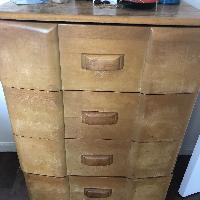 Heywood Wakefield Natural Maplewood Tall 4 Drawer Dresser