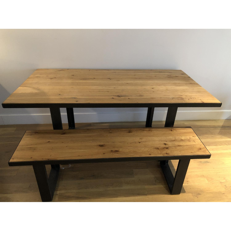 Pleasant West Elm Modern Wood Metal Dining Table W 1 Bench Aptdeco Cjindustries Chair Design For Home Cjindustriesco