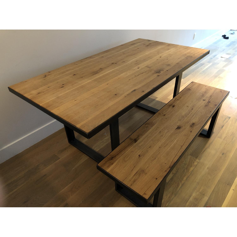 Super West Elm Modern Wood Metal Dining Table W 1 Bench Aptdeco Cjindustries Chair Design For Home Cjindustriesco